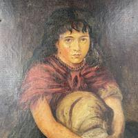 Antique Victorian Oil Painting Portrait of Girl in Red Shawl (6 of 10)
