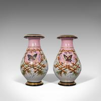 Antique Pair of Peony Vases, French, Decorative Ceramic Urn, Victorian c.1890 (12 of 12)