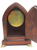 French Lancet Walnut Mantel Clock 8-day Front Wind Mantle (9 of 10)