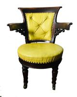Stylish 19th Century American Mahogany Captains Chair in Pistachio Leather