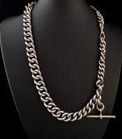 Antique Silver Albert Watch Chain, Heavy (8 of 13)