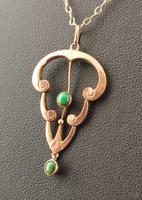 Antique Art Nouveau Turquoise Lavalier Pendant, 9ct Rose Gold, Necklace (9 of 10)