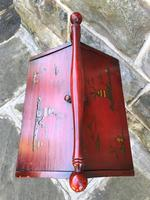 Antique Red Lacquered Chinoiserie Sewing Basket (4 of 10)