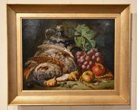 """Oil Painting Pair by Charles Thomas Bale """"Fruit and Game Larder Scenes"""" (2 of 10)"""