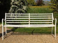 English Regency Wrought Iron Strapwork Garden Bench (8 of 9)