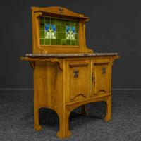 Arts & Crafts Oak Washstand with Marble Top (3 of 14)