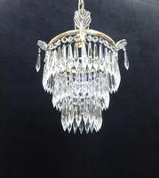Italian Art Deco Three Tier Crystal Glass Chandelier (6 of 6)