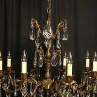 Italian Gilded Brass 8 Light Antique Chandelier (6 of 9)