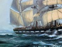 Large Beautiful Mid-Century Full-Masted Ship in Rough Seas Seascape Oil Painting (6 of 12)