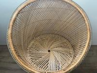 Vintage Boho Mid 20th Century Rounded Peacock Rattan Chair with Cushion (8 of 15)