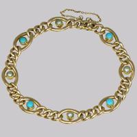 Antique 15ct Gold Turquoise & Pearl Curb Link Bracelet Victorian Bracelet c.1880