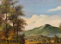 Large Early 20th Century Antique English Autumn Countryside Landscape Oil Painting (5 of 11)