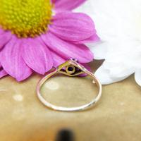 Vintage Dainty 18ct Gold Created Sapphire Evil Eye Ring (6 of 10)
