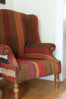 Antique Oak Chair with Multicoloured Afghan Kelim (3 of 9)
