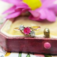 Vintage 18ct Gold Ruby & Diamond Three Stone Bypass Ring (3 of 7)
