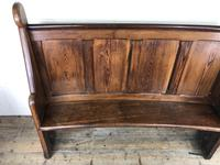 Antique Victorian Pitch Pine Curved Back Pew or Settle (13 of 16)