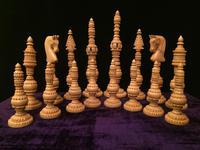 Indian Carved Boxwood & Ebony Chess Set