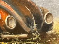 """Oil Painting """"Unloved Abandoned VW Beetle Car"""" Signed David Robert (17 of 27)"""