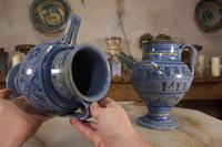Pair of Mid 17th Century Italian Majolica Berettino Wet Drug Jars (8 of 11)