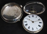 Antique Silver Pair Case Pocket Watch Fusee Verge Escapement Key Wind Enamel Dial W Hollison London (5 of 9)