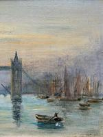 Superb Original 1921 View of Tower Bridge London Seascape Oil Painting (5 of 12)