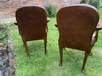 Pair of Leather Queen Anne Style Armchairs (8 of 10)