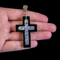 Antique Victorian Micro Mosaic Cross Pendant Forget Me Nots c.1860 Boxed (6 of 7)