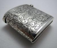Beautiful Antique Victorian 1895 Solid Sterling Silver English CHESTER Vesta Case Match Box (4 of 9)