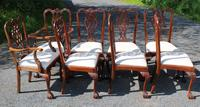 1960s Set of 8 Mahogany Chippendale Style Dining Chairs Pop Out Seats (3 of 4)