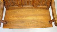 Good Quality  Reproduction  Carved Oak Settle or Hall Seat (16 of 17)