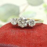 Vintage Art Deco 18ct Platinum Diamond Trilogy Engagement Ring 0.70ct c.1930 (6 of 9)