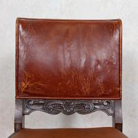 4 Carved Oak Leather Dining Chairs (11 of 12)