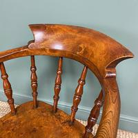 Elm Early Victorian Antique Smokers Bow Arm Chair (6 of 7)