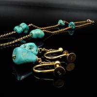 Antique Victorian Turquoise Matrix Nugget 9ct 9K Gold Chain Necklace and Earring Set (10 of 10)