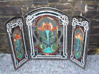 Arts & Crafts Leaded Glass Fire Screen (10 of 14)