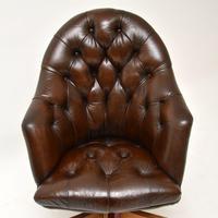 Georgian Style Leather Swivel Desk Chair (6 of 8)