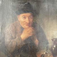 Antique Victorian Oil Painting Portrait of Man with Hat in Inn Pub Ale House (4 of 10)