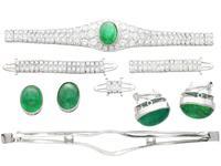 37.17ct Emerald & 6.55ct Diamond, 18ct White Gold Jewellery Set - Antique French c.1925 (2 of 23)