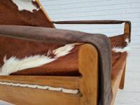 Scandinavian armchair, adjustable back, cowhide, 70s (7 of 20)