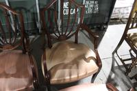 1960s Set 8 Mahogany Shieldback Carver Chairs Pale Pink (3 of 4)