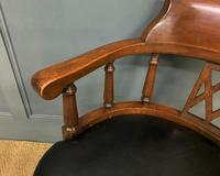 Victorian Mahogany & Leather Revolving Desk Chair (10 of 11)