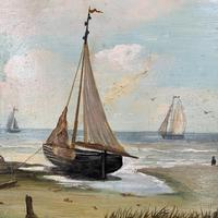 Antique coastal seascape oil painting of fishing boats signed YT (3 of 9)