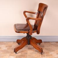 Good Quality Oak Revolving Office Desk Chair (12 of 14)