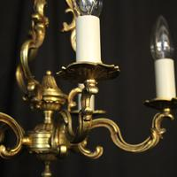 French Gilded Brass 5 Light Chandelier (4 of 10)