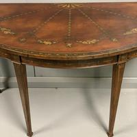 Late 18th Century Painted Demi-lune Console table (5 of 6)