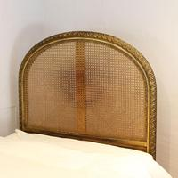 Gilded Louis XVI Matching Pair of Twin Single Caned Rattan Beds (4 of 8)