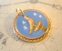 Vintage Pocket Watch Chain Fob 1940s Rose Gilt & Enamel Racing Pigeon Fob Nos (3 of 7)