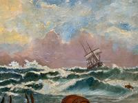 Large Spectacular 19th Century British Seascape Oil Painting - Shipwreck in Rough Seas! (10 of 13)