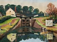 'Lapworth Canal, Warwickshire' Exceptional Vintage Oil on Canvas Painting c1960 (7 of 13)