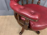 Victorian Leather Upholstered Revolving Desk Chair c.1885 (8 of 16)